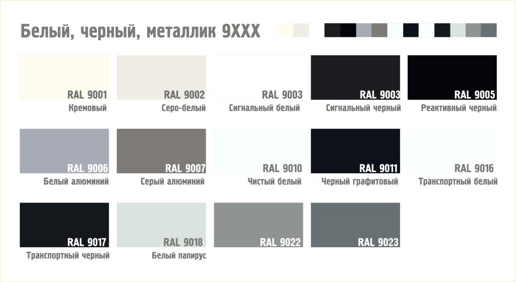 Белая, черная, металлик серия цвета RAL