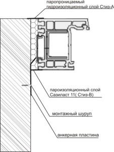 Узел бокового примыкания оконного блока к стеновому проему без четверти